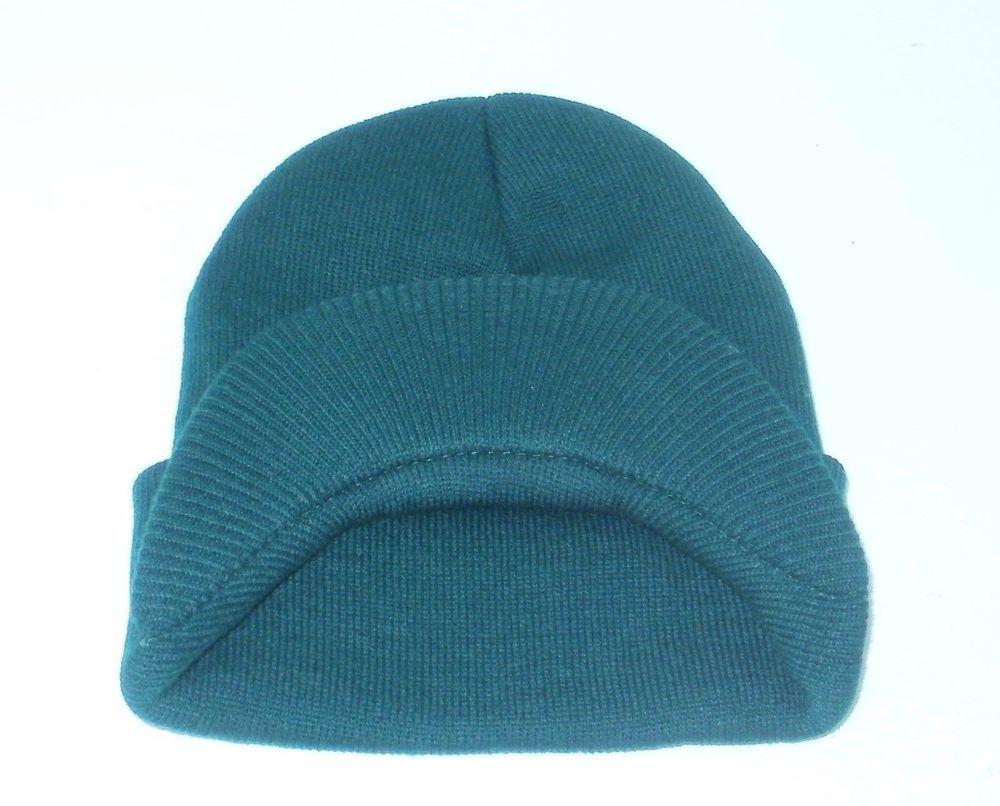 Hunter Green Winter Hat Beanie Ski Plain Visor Knit Women Skull Men ... 8a3354350b8