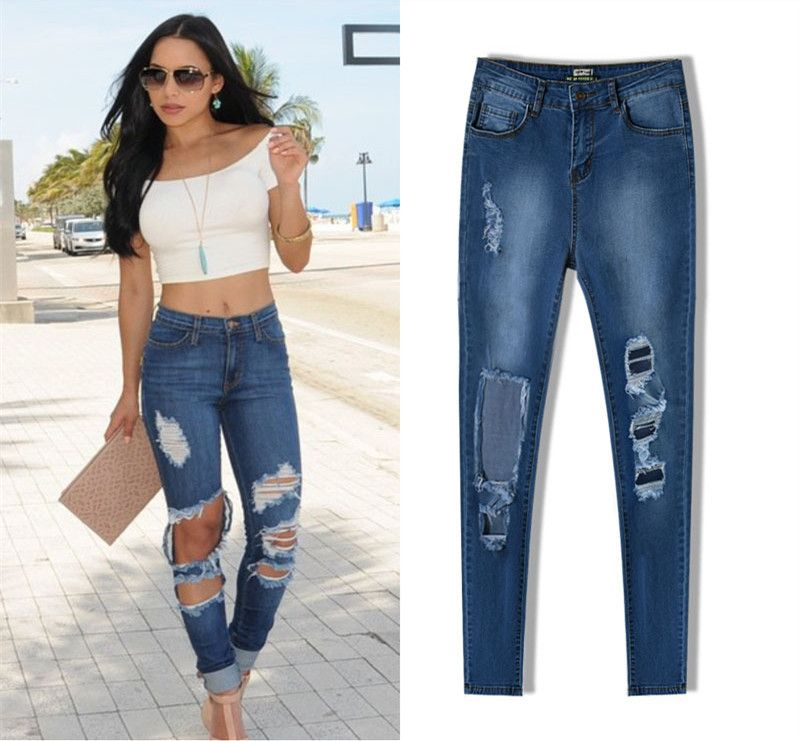 High waisted plus size women distressed pencil pants jeans skinny ...