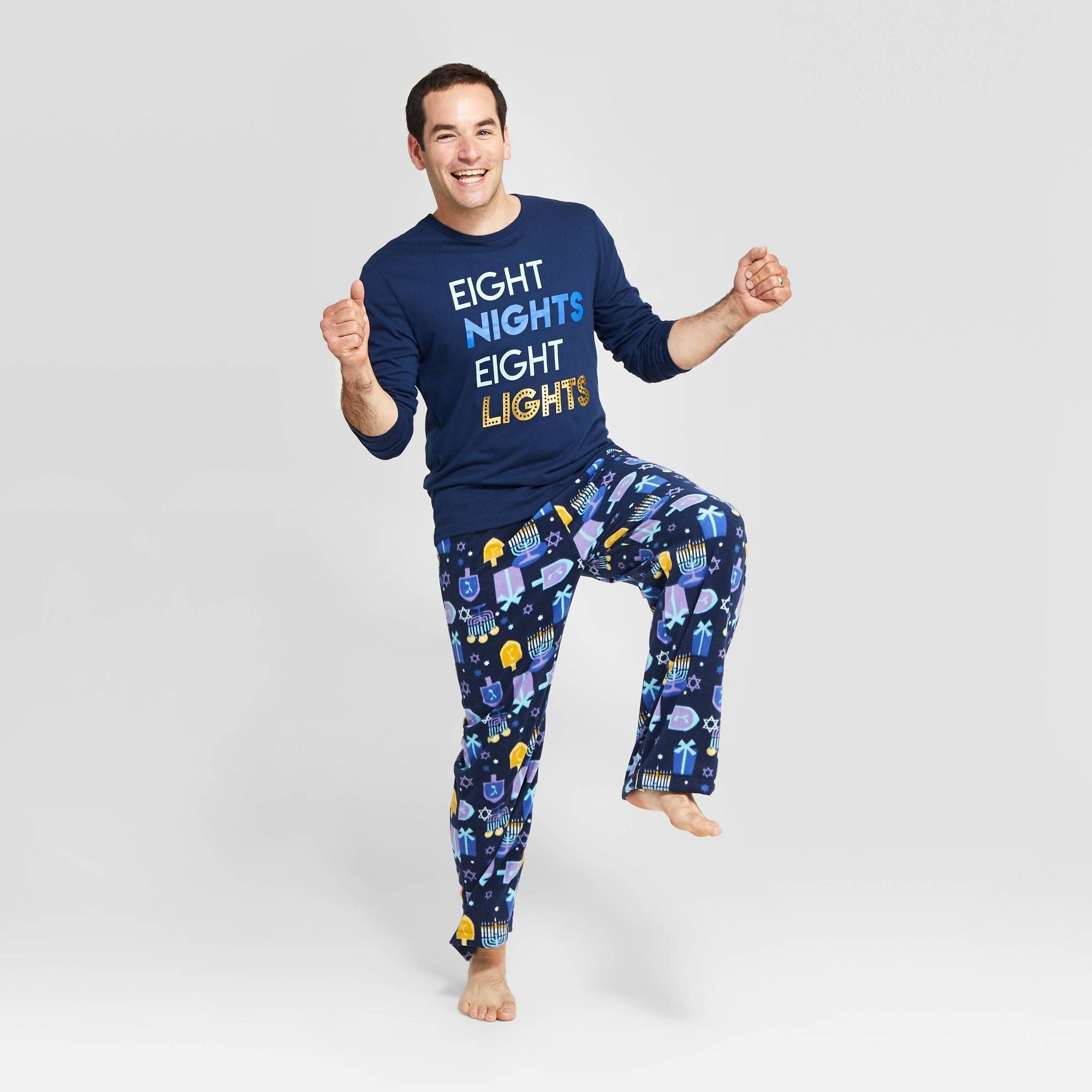 Men's Holiday Hanukkah Pajama Set Navy M