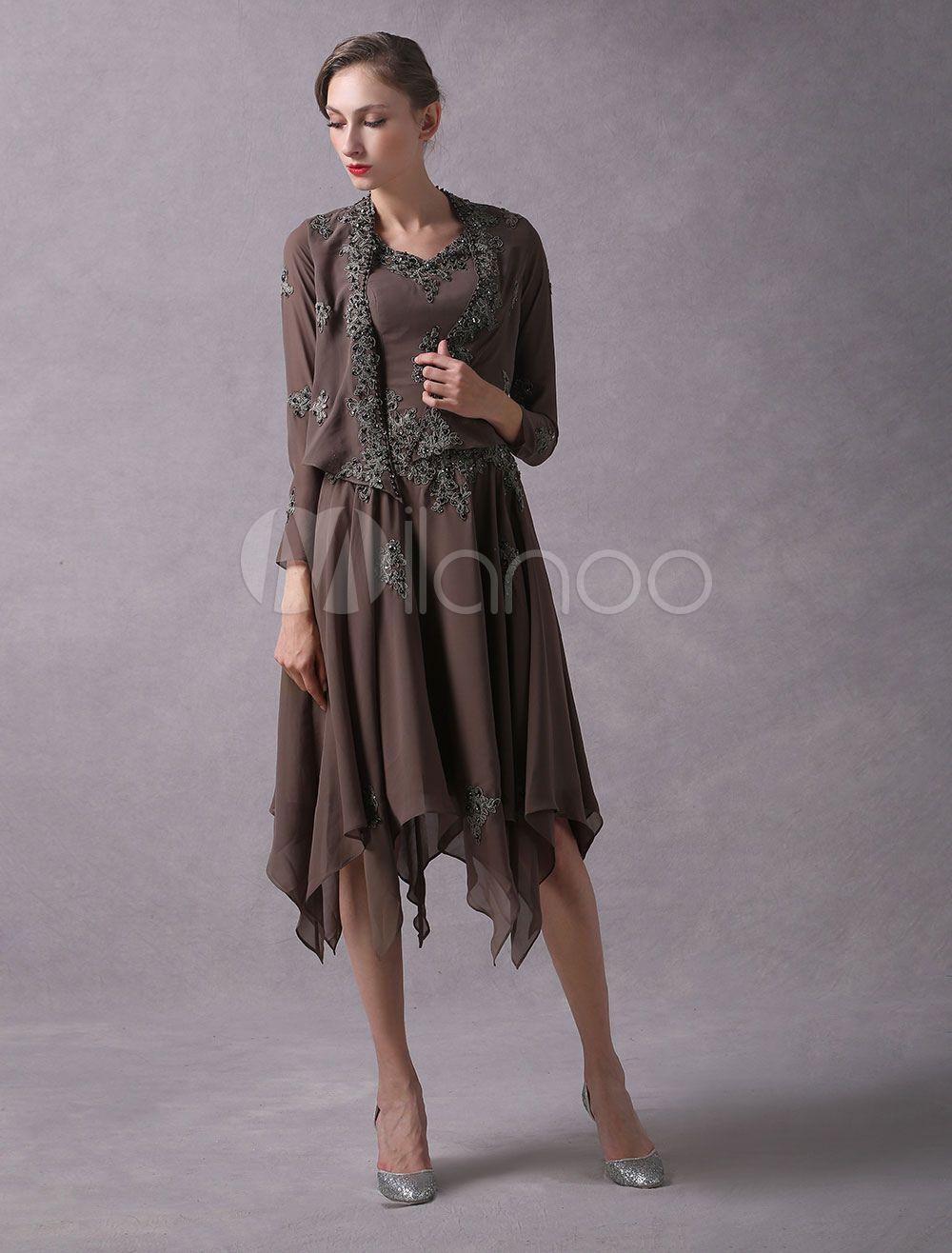 a69631206e178 Wedding Guest Dresses Lace Applique Chiffon Short Mother Dresses Beaded V  Neck Asymmetrical Wedding Party Dress