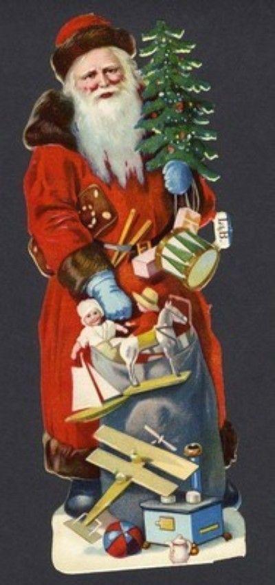 9 Inch High SANTA CLAUS DIE CUT - 1900 - TOYS - AIRPLANES - DOLLS (12/20/2011)