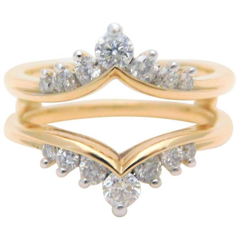 1stdibs Vintage 14 Karat Engagement Ring Wrap Enhancer Diamond 14k Gold Yellow Gold Womens Engagement Rings Wedding Ring Bands Engagement Ring Wraps