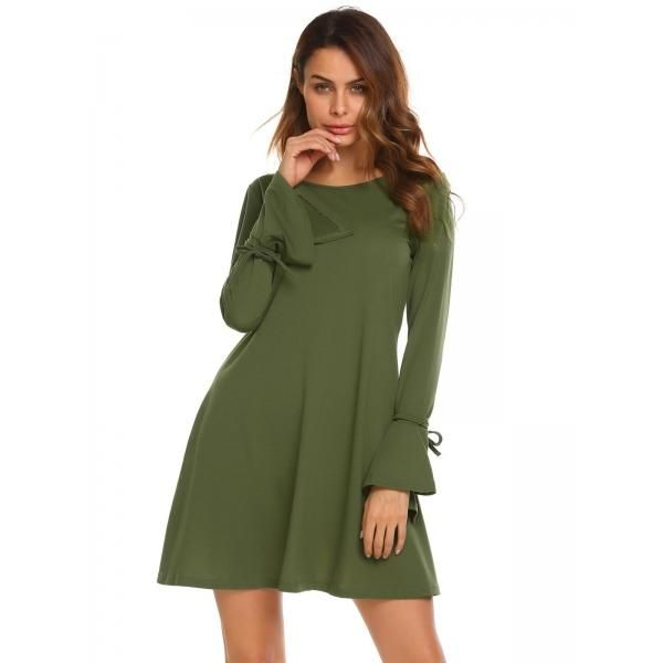 AdoreWe - Dresslink Army green Round Neck Flare Sleeve Solid Loose Fit Tunic Dress - AdoreWe.com