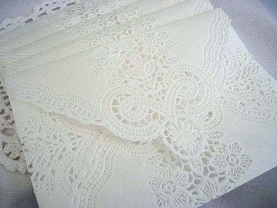 Doily Envelopes Paper Lace Wedding Vintage Handmade, White Invitation Liner Tea, Shabby Chic, 60 Piece Set