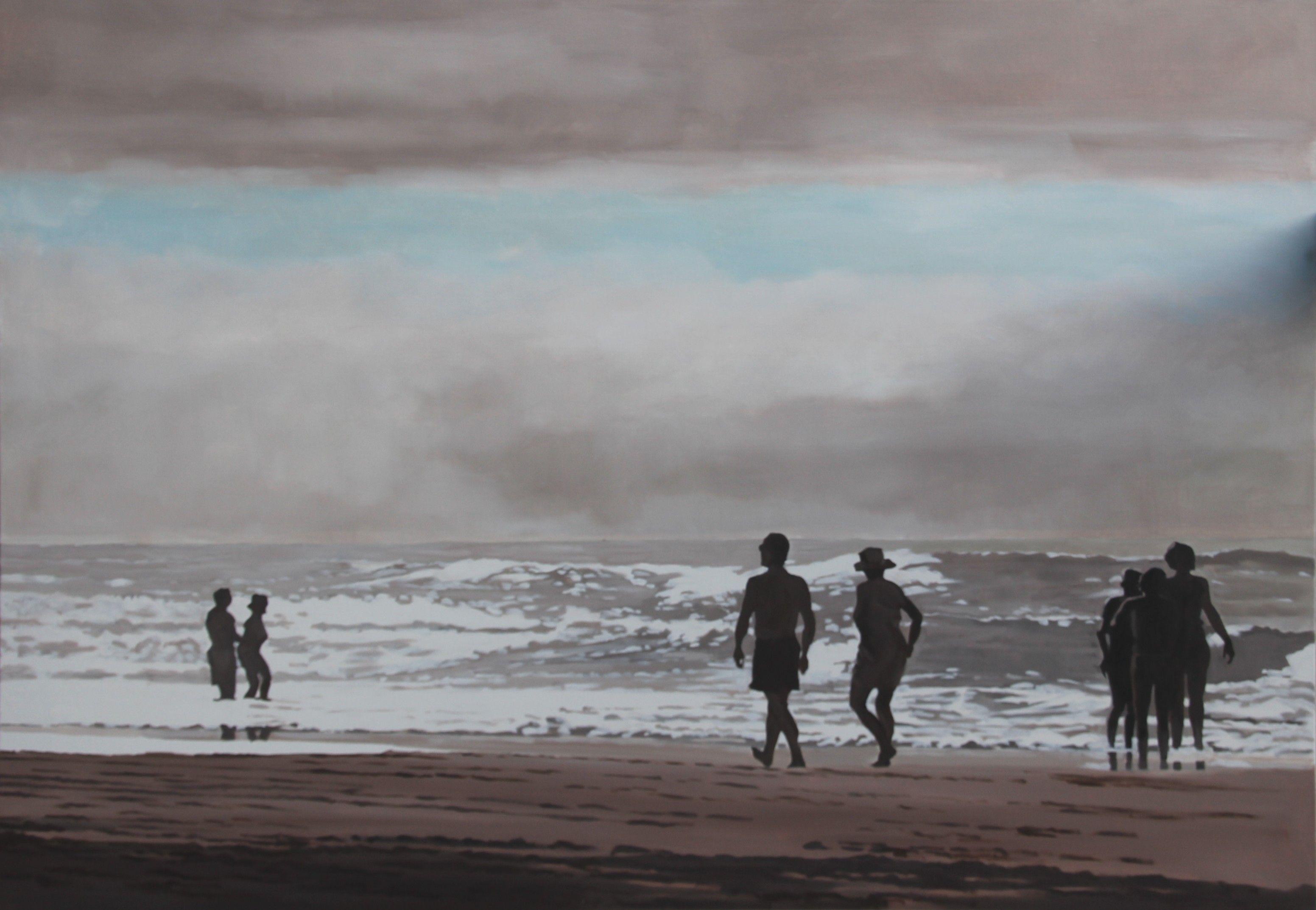 Embruns - Nicolas Odinet #plage #beach #seaside #borddemer #mer #enfant #famille #bleu #houle #vague #Odinet #peinture #oilpainting #art #Hopper #Light #afternoon #fineart #artcontemporain #art #marciano #gallery #galerie #Paris #rivoli