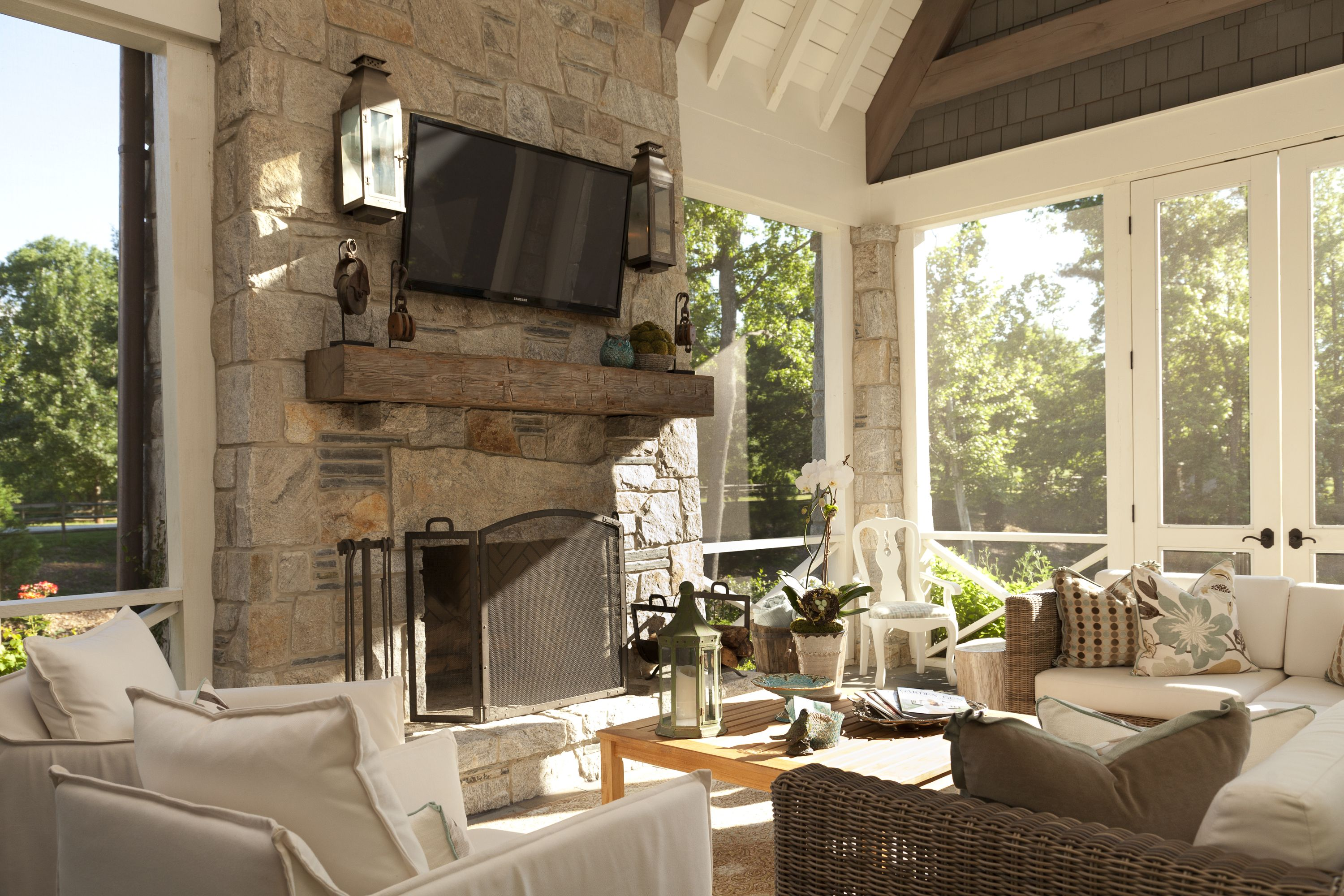 Screened Porch Timber Mantel Natural Light Sconces