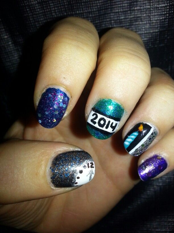 New years nail art design. New years eve count down nail design ...