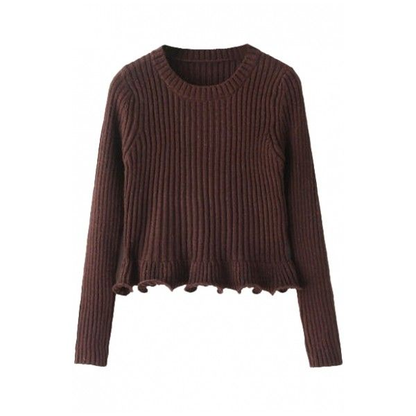 Plain Round Neck Ruffle Hem Long Sleeve Fitted Crop Sweater (1,100 ...