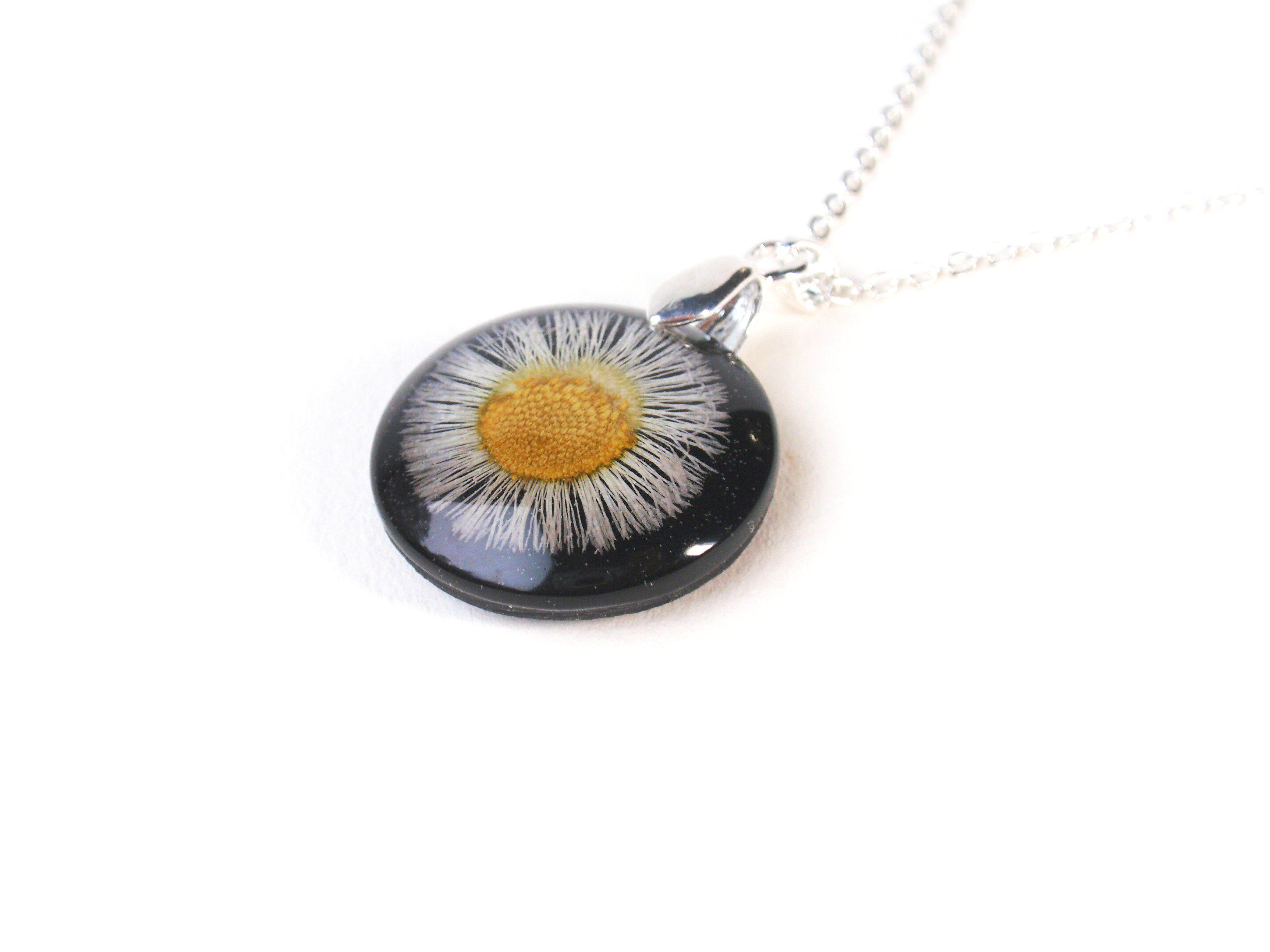 Aster Set Into Black Resin Botanical Pendant September Birth Month Flower Flower Resin Jewelry Flower Jewellery Pendant