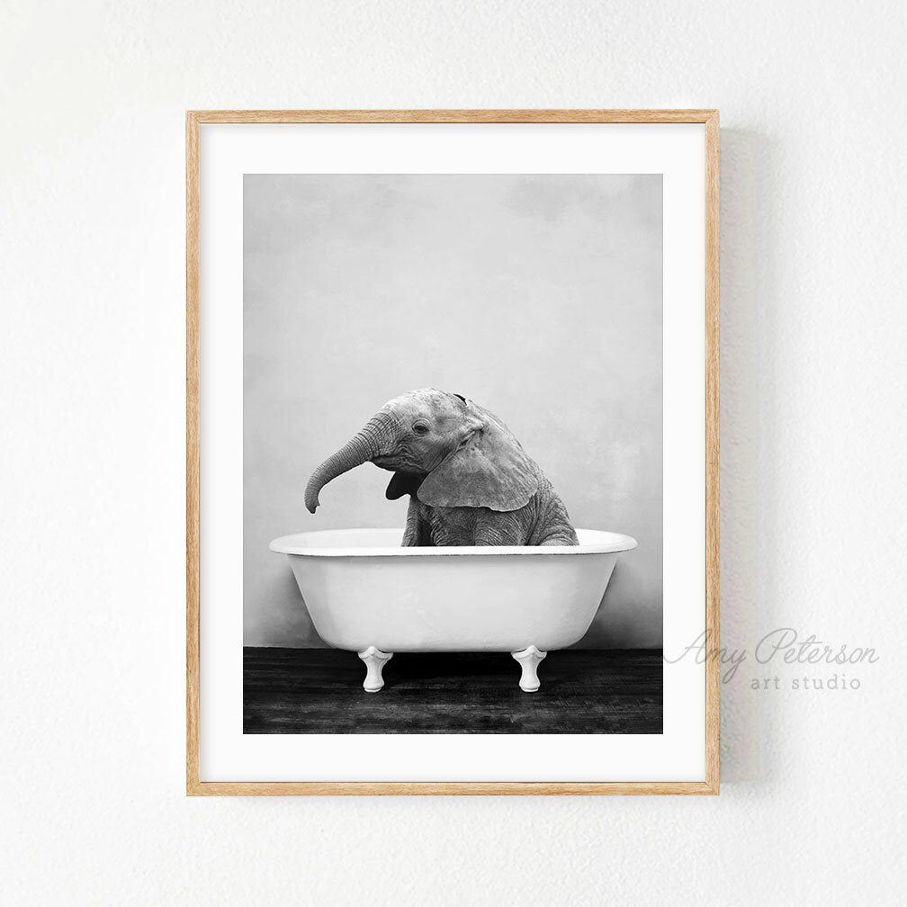 Baby Elephant Bathtub Bathroom Art Black And White Baby Etsy In 2020 Bathroom Art Baby Animal Art Baby Wall Art