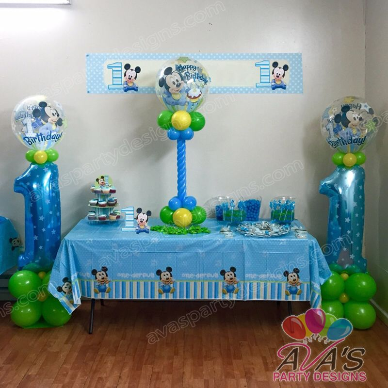 Mickey mouse 1st birthday balloon column and centerpiece for 1st birthday balloon decoration images