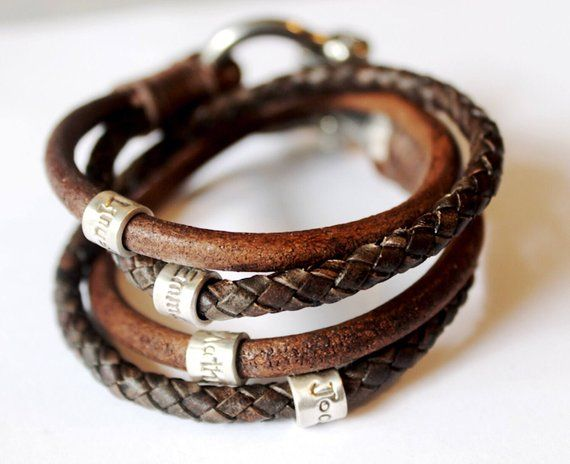 Mens Personalised Bracelet Fathers Day Leather Engraved Men Band Wrap Custom