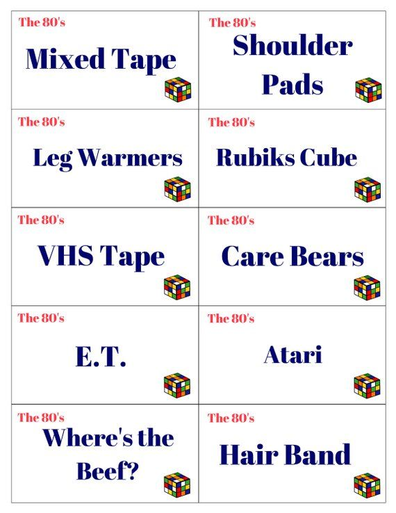 Printable 1980's Pictionary, Charades, The 80's, GNO, Girls Night Out, 80s  Party, Game Cards for Pic