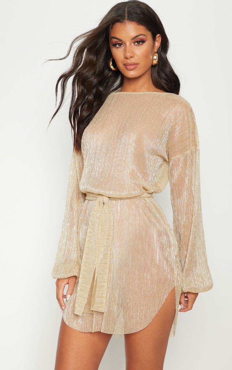 Gold Plisse Balloon Sleeve Sheer Shift Dress Women Dress Online Going Out Dresses Classy Dress Outfits [ 1180 x 740 Pixel ]