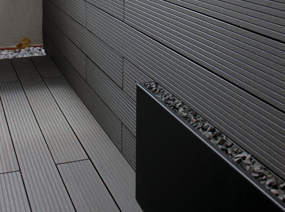 Madera tipo composite en color gris para exterior en for Jardines en terrazas