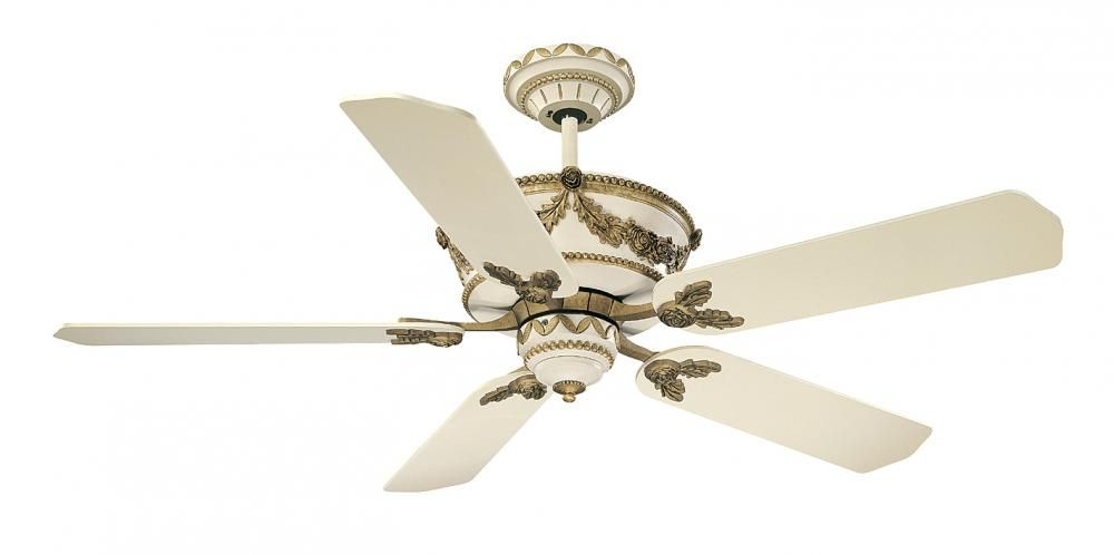 This Ceiling Fan Has A White Finish And Is Part Of The Baroque