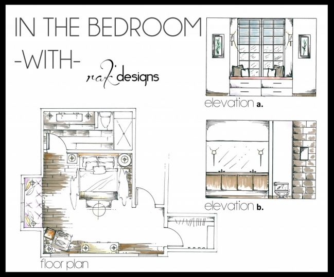 Bedroom interior design floor plan and elevations for Bedroom designs sketch