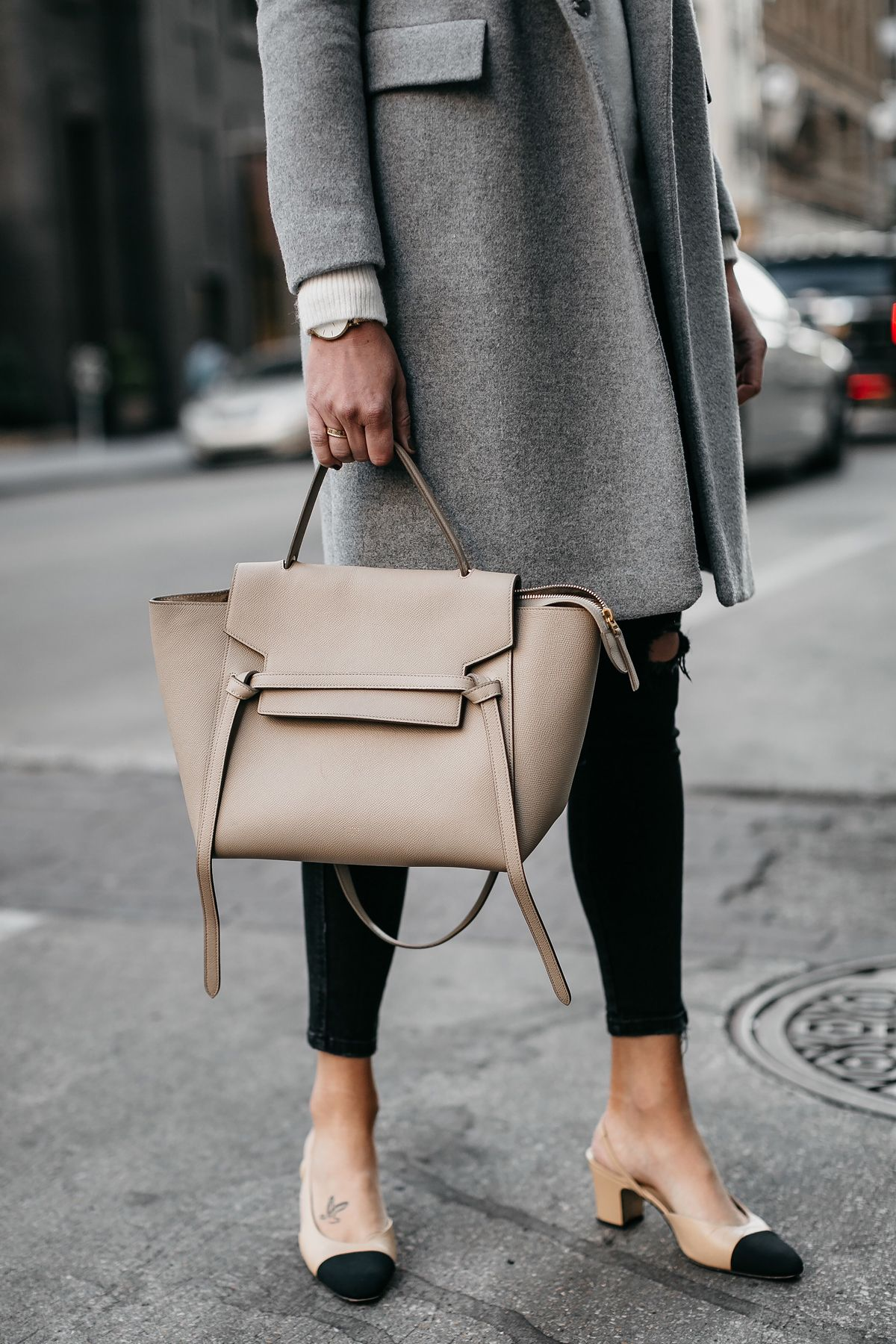Celine Mini Belt Bag Chanel Slingbacks Grey Wool Coat Fashion Jackson  Dallas Blogger Fashion Blogger Street Style 9c1c00200ccab