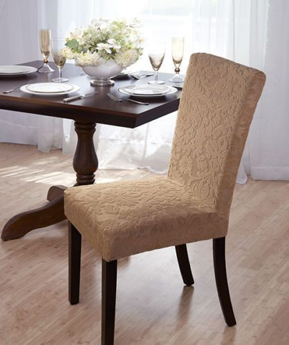 Luxurious Velvet Damask Dining Chair Cover