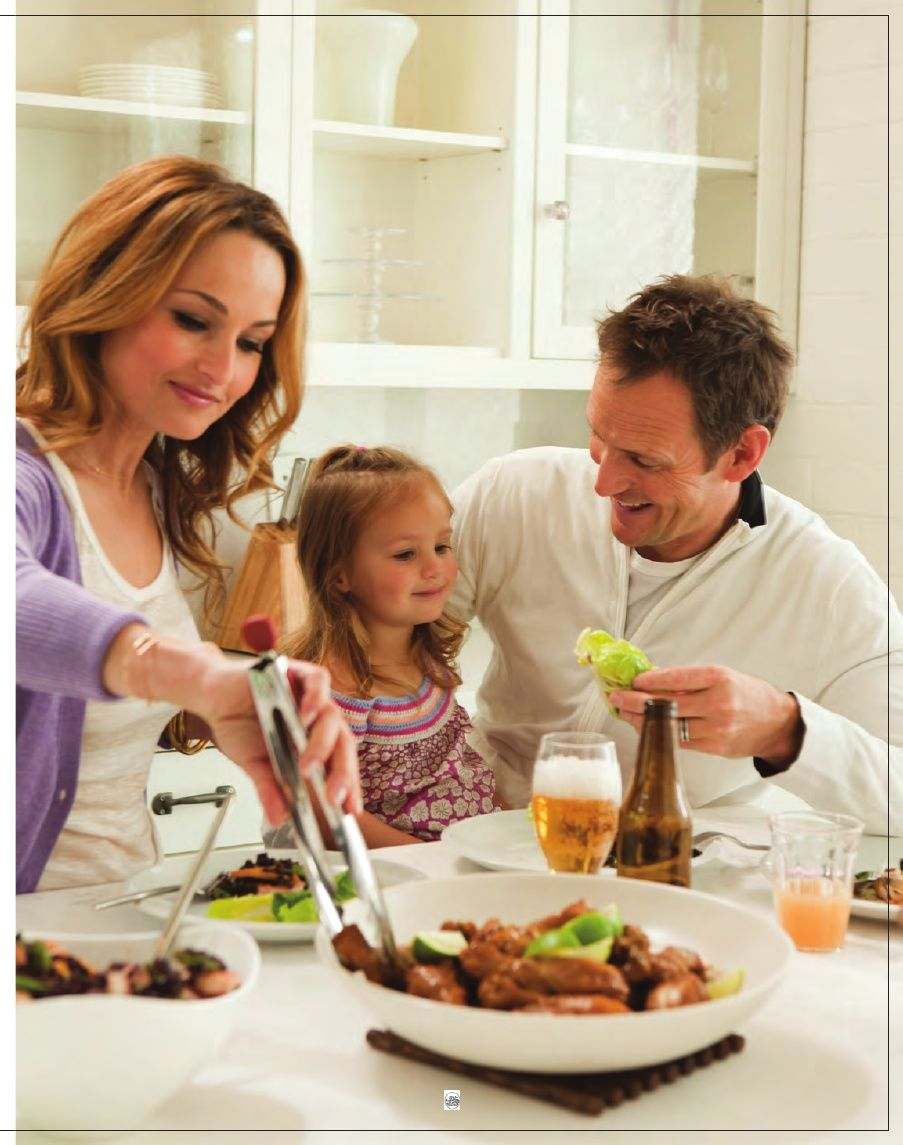 Giada serving dinner to her husband Todd and daughter Jade