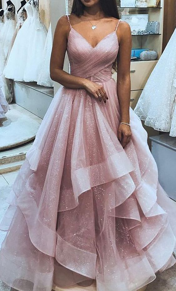Cute Pink Ruffly Vintage Long Prom Dresses Outfit Ideas for Graduation for Teens  ML321 by moonlight, $181.88 USD #kleider outfits Cute Pink Ruffly Vintage Long Prom Dresses Outfit Ideas for Graduation for Teens  ML321 #promdresses