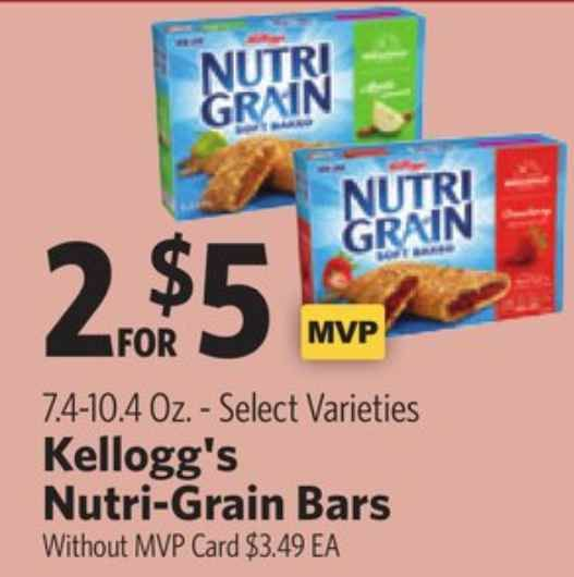 graphic about Food Lion Printable Coupons titled Receive Kelloggs Nutri-Grain Bars Just $2.25 At Meals Lion Soon after