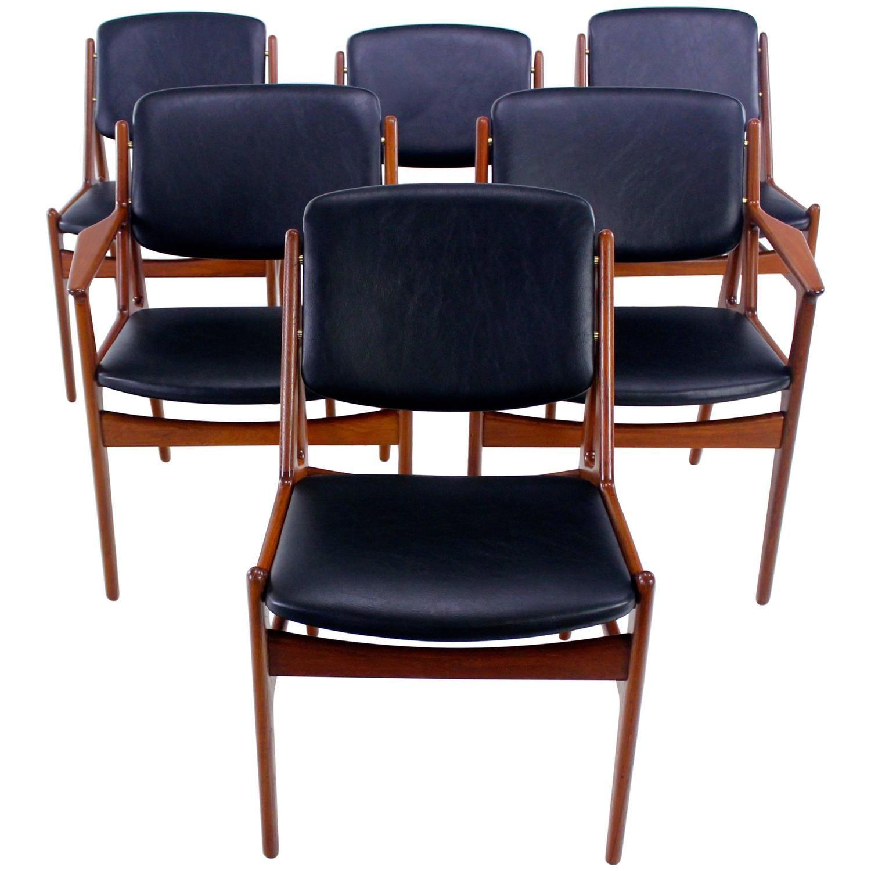 Set Of Six Danish Modern Ella Teak Dining Chairs Designed By