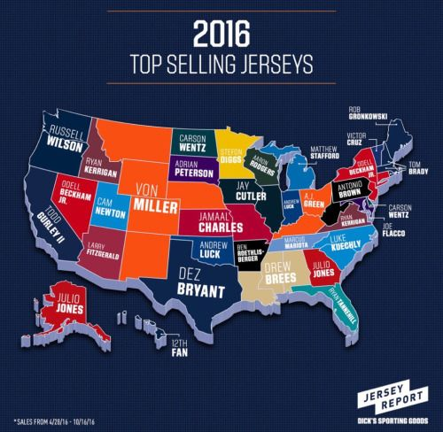 bf686a8e7 Best selling NFL jersey in each US state.