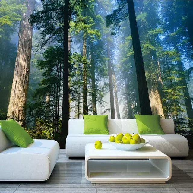 Best Online Shop 5D Papel Murals Forests Wallpaper Nature Fog 400 x 300