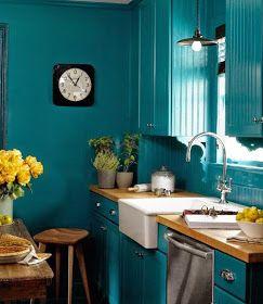 Duo Gagnant Bleu Canard Et Jaune Idee Decoration Cuisine Cuisine Sarcelle Et Cuisine Bleu Canard