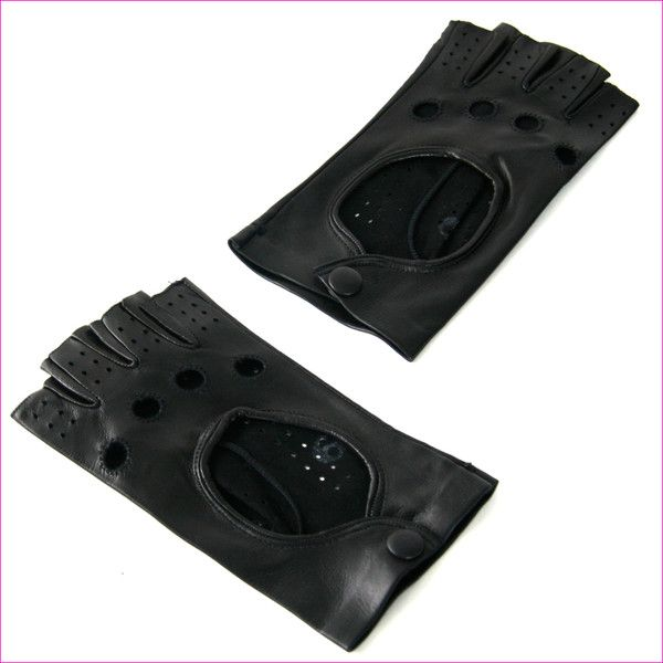 Ladies Black Leather Fingerless Gloves ($93) via Polyvore