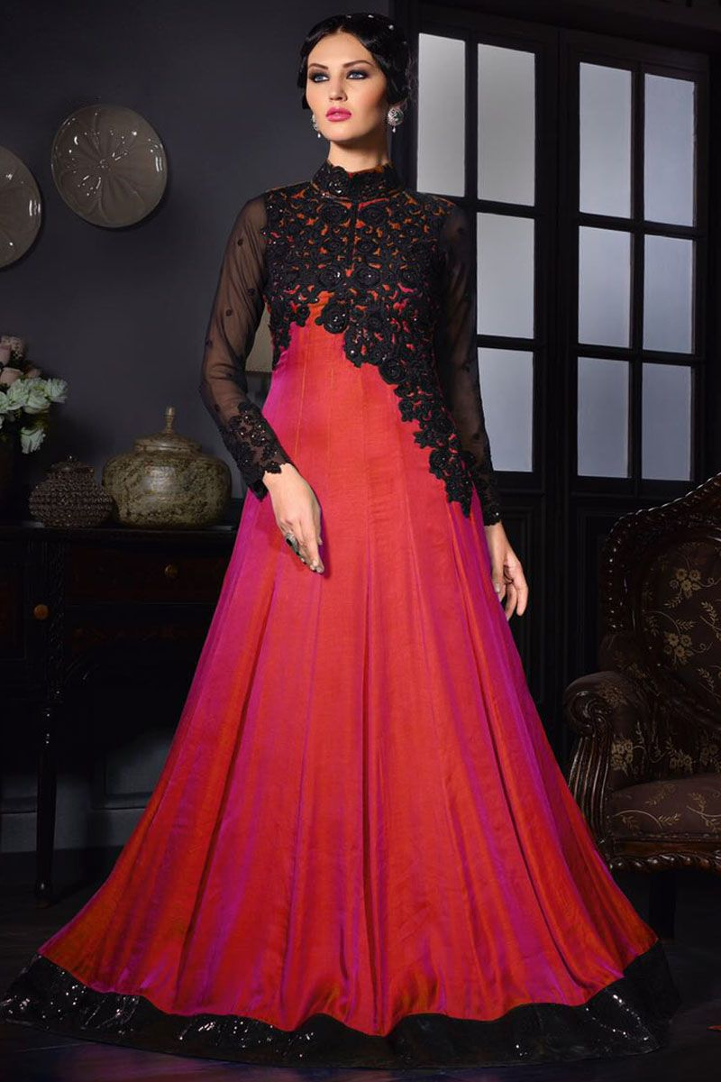 Carrot Red Silk Fabric Embroidered Gown Style Party Wear Anarkali ...