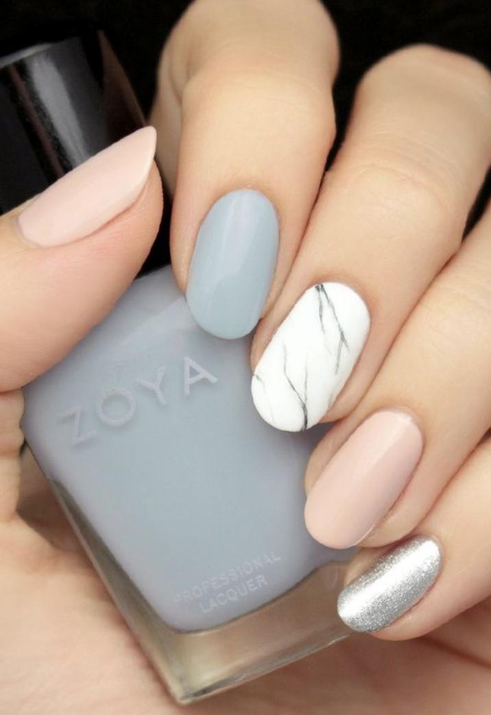 Grey Blush And Marble Effect Nail Art Pr 202 Te Beauty Bible Manicure Zoya Nail Artistry