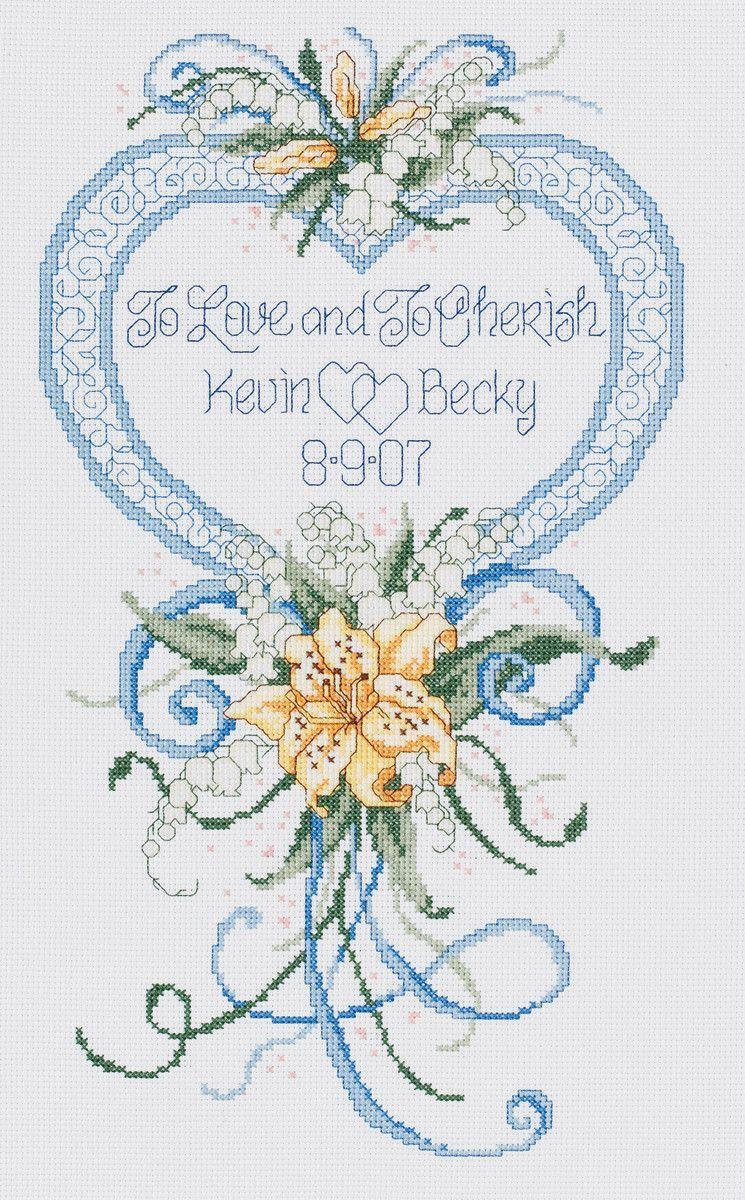 Cherish Wedding Heart Counted Cross Stitch Kit-9\