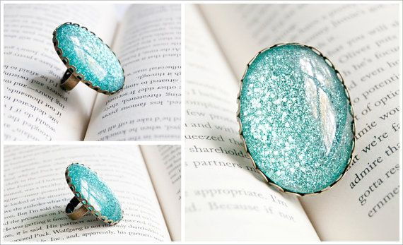 A Mermaid S Tail Large Oval Glitter Painted Cocktail By