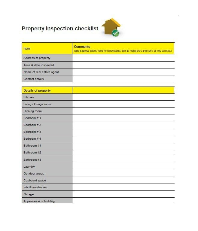 Printable Home Inspection Checklists Word Pdf  Template