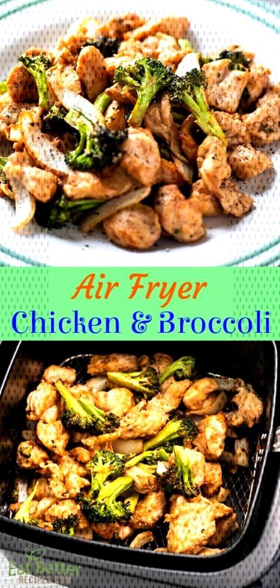 Air Fryer Chicken Broccoli Stir Fry that's Air Fried @EatBetterRecipes