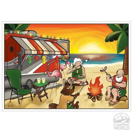 Camping Christmas Cards.Limited Edition Rv Christmas Cards Campfire Christmas