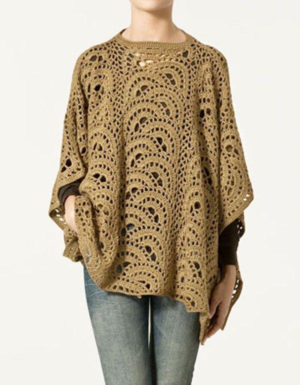 Crochet Poncho Crochet Tunic Crochet Top Plus Size Poncho Zara ...