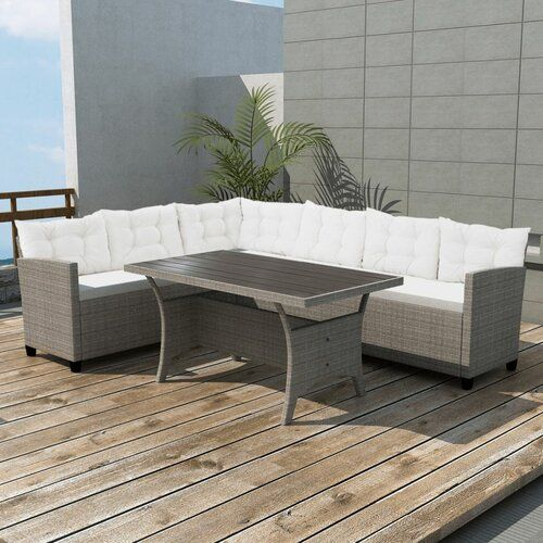 6 Sitzer Lounge Set Iseson Aus Polyrattan Mit Polster Garten Living Corner Sofa Set Furniture Sofa Set