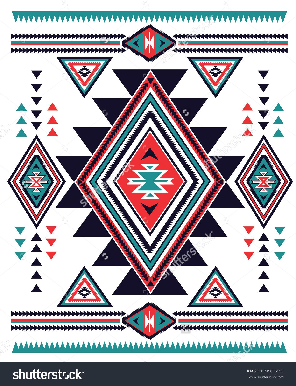 Background geometric mexican patterns seamless vector zigzag maya - Navajo Aztec Big Pattern Vector Illustration 245016655 Shutterstock
