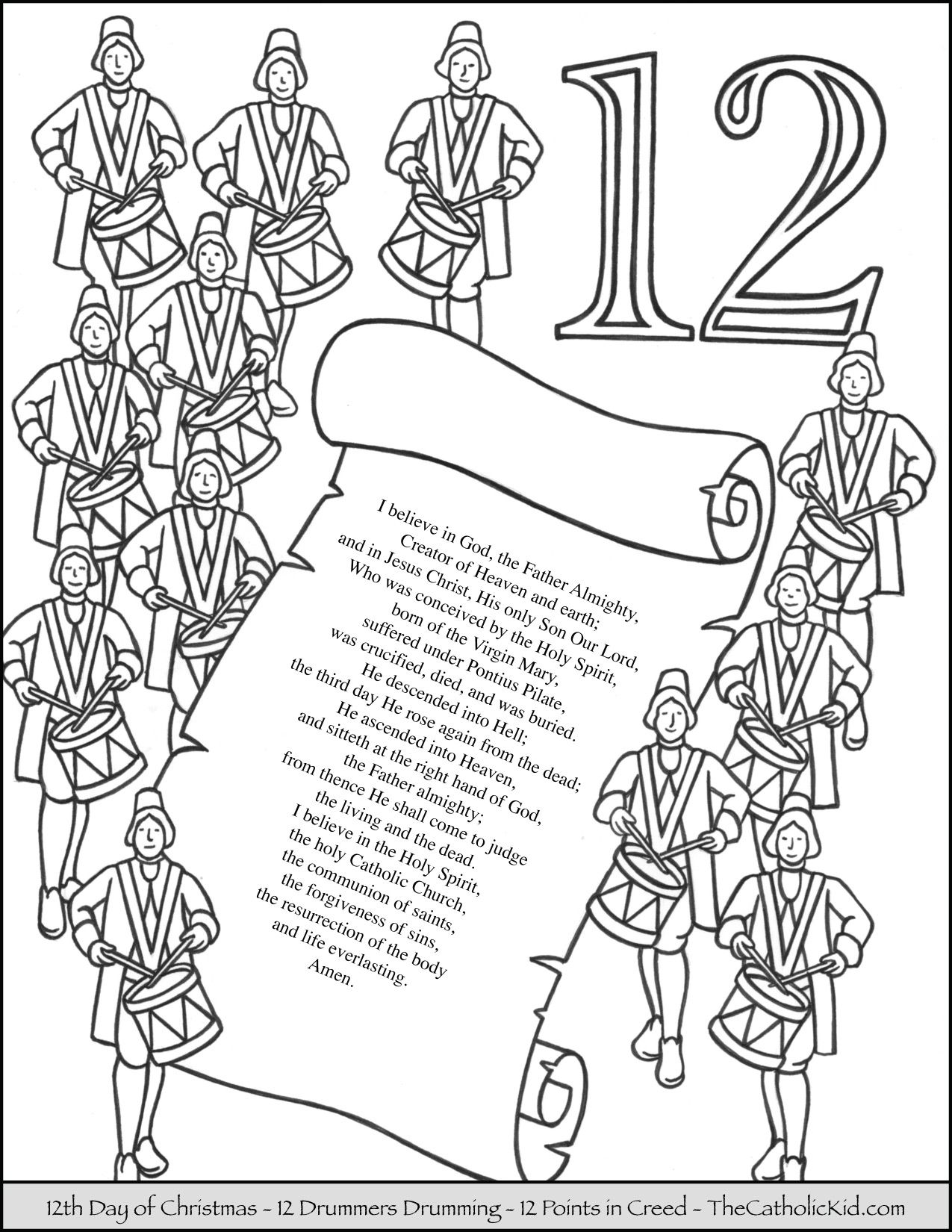 Twelve Days Of Christmas Printable Coloring Pages
