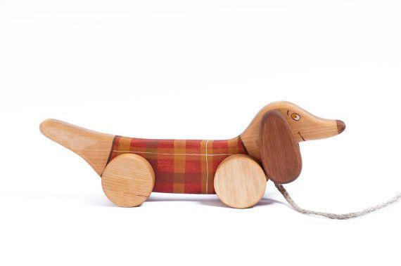 Wooden Dog Pull Toy 1st Birthday Gift Dachshund Toy Wooden
