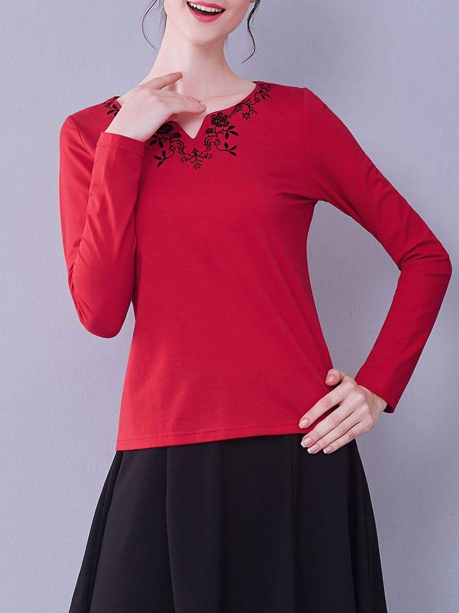 #AdoreWe #StyleWe I BELIEVE YOU Embroidered Cotton-blend Casual Long Sleeve Floral T-Shirt - AdoreWe.com