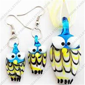 Owl, Colorful Handmade Lampwork Jewelry Set, Necklace and Earring