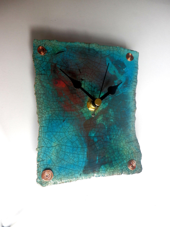 Raku wall clock, blue clock, ceramic art, nature, kitchen clock ...