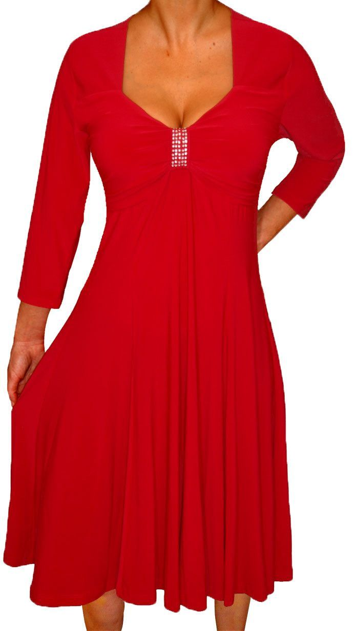 Plus Size Women Long Sleeves Empire Waist A Line Midi Dress Made in USA