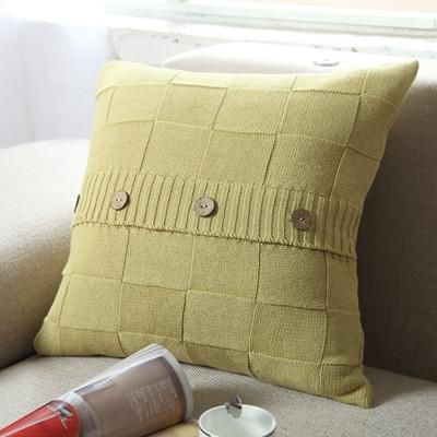 Cotton Knitted Pillow Cover with Decorative Buttons
