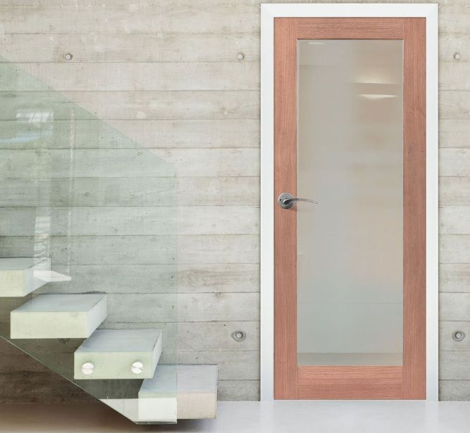 Opaque glass doors with mahogany frame doors | Home Doors Design ...