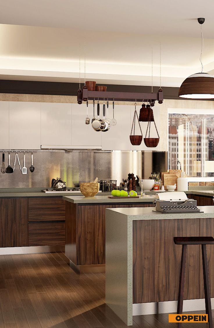 Modern Dark Wood Grain U Shape Kitchen Cabinet Kitchen Design